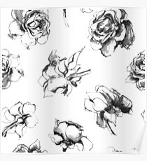 Roses Black And White Floral Pattern Poster