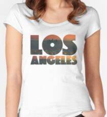 Los Angeles Graphic Text Women's Fitted Scoop T-Shirt