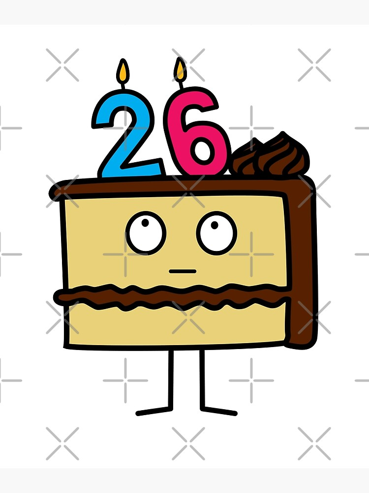 Terrific 26Th Birthday Cake With Candles Chocolate Icing Greeting Card By Funny Birthday Cards Online Necthendildamsfinfo