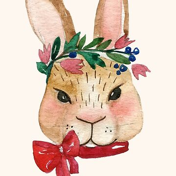 Watercolor Spring Rabbit with Flowers Headpiece by MyArt23