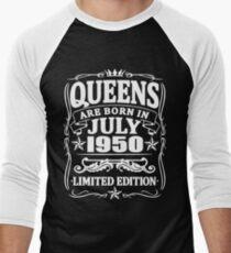 Camiseta ¾ bicolor para hombre Queens are born in july 1950