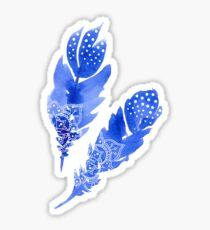 Blue Boho Feathers Sticker