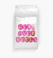 Bright 'Head over Heels' Typography Design Duvet Cover