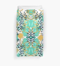 Silas - abstract print in mint, green, mustard navy Duvet Cover