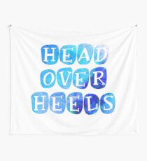 Bright 'Head Over Heels' Typography Design Wall Tapestry