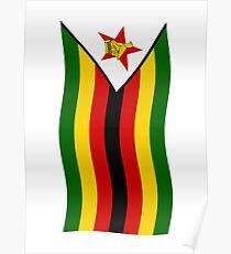Zimbabwe flag waving vertical Poster