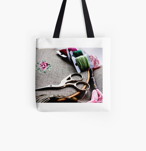Cross stitch rose on embroidery hoop All Over Print Tote Bag