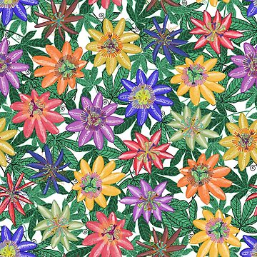 Pattern 78 - Passion Flowers (Green)  by IreneSilvino
