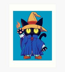 Black mage Fantasy Cat  Art Print