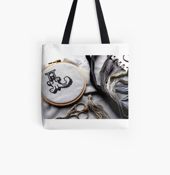 Circus letters in grey threads All Over Print Tote Bag