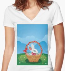 Easter Bunny with Eggs in the Basket 3 Women's Fitted V-Neck T-Shirt