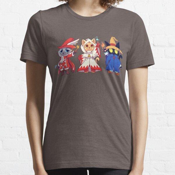 Rote weiße schwarze Magier-Katzen-Gruppe Essential T-Shirt