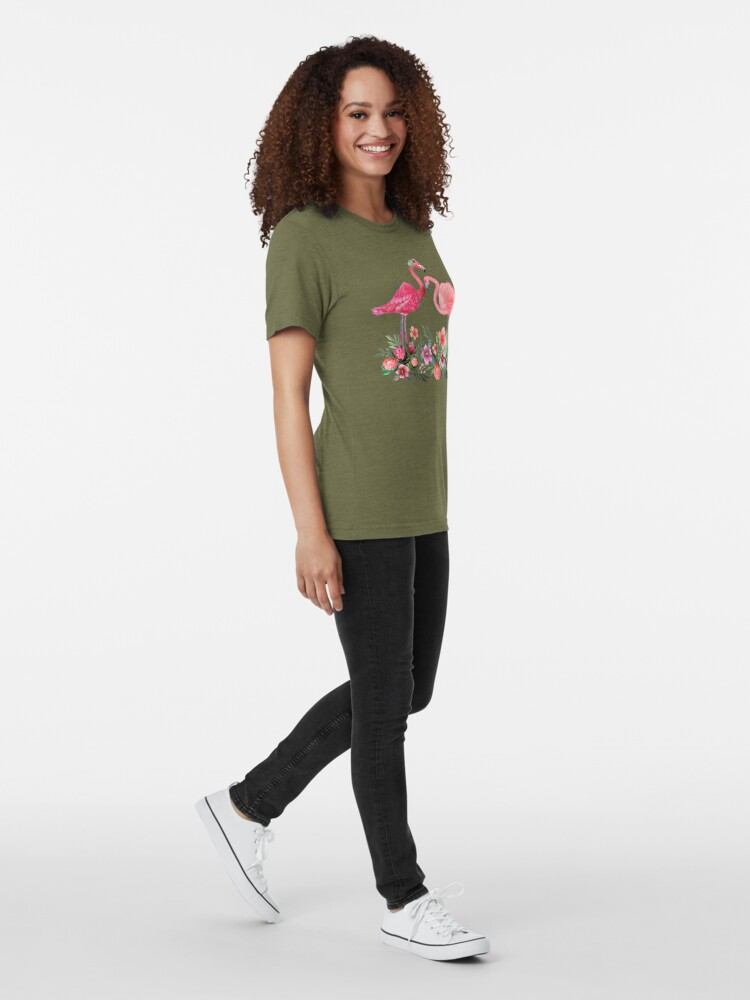 Alternate view of Flamingo with Tropical Flowers by Magenta Rose Designs Tri-blend T-Shirt