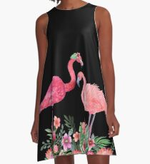Flamingo with Tropical Flowers by Magenta Rose Designs A-Line Dress