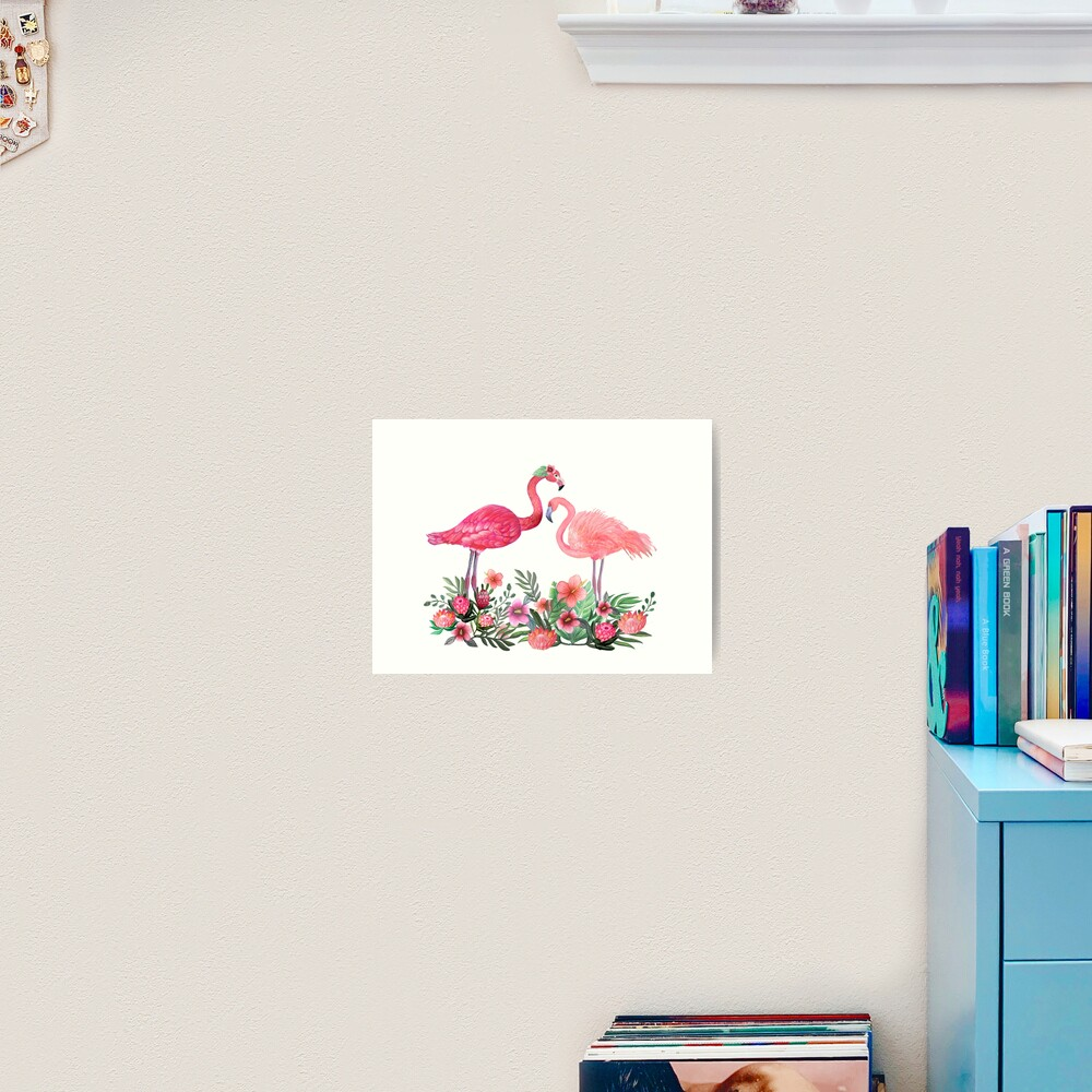 Flamingo with Tropical Flowers by Magenta Rose Designs Art Print