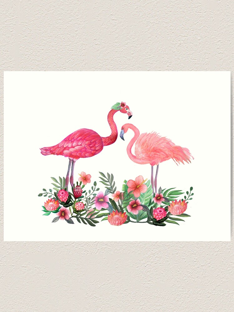 Alternate view of Flamingo with Tropical Flowers by Magenta Rose Designs Art Print