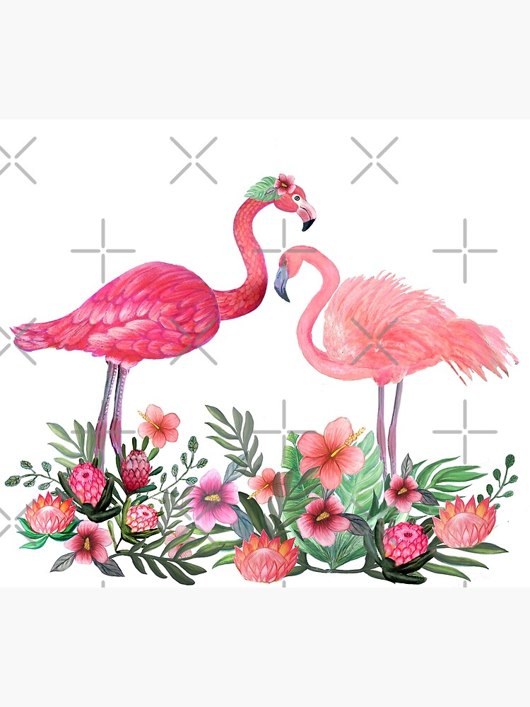 Flamingo with Tropical Flowers by Magenta Rose Designs by MagentaRose