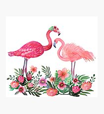 Flamingo with Tropical Flowers by Magenta Rose Designs Photographic Print