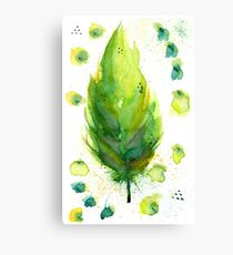 Green Feather Canvas Print