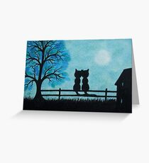 Cats and Moon Art, Romantic Cats, Two Cats with Tree and Moon Greeting Card