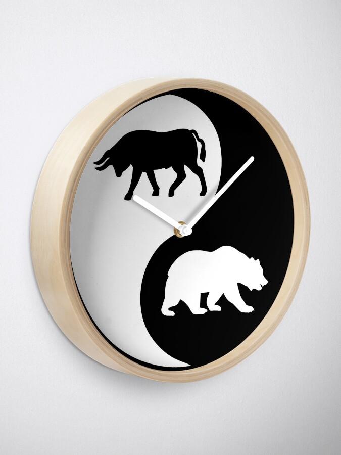 Alternate view of Trader Bull Bullish Bear Bearish Wall Street Stock Market Clock