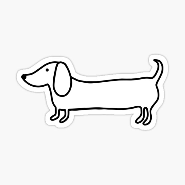 Simple dachshund black drawing Sticker