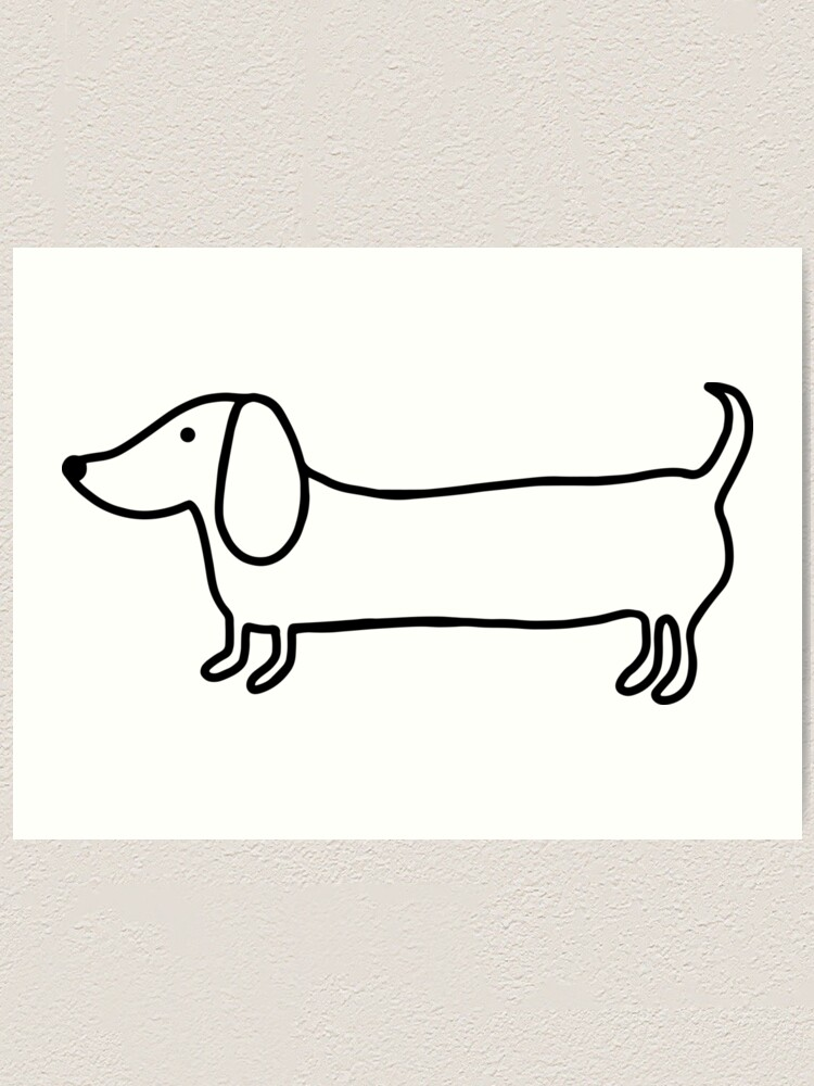 Simple Dachshund Black Drawing Art Print By Bigmoments Redbubble