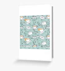 Tea Toss Cups and Saucers Pattern  Greeting Card