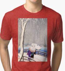 Snow On Willow Bridge by Koson Tri-blend T-Shirt