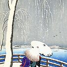 Snow On Willow Bridge by Koson by Ruth Moratz