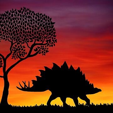 Stegosaurus Dinosaur Sunset by imphavok
