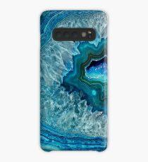 Aquamarines Aqua-Türkis-Blau-Felsen-Achat-Mineralkristall-Muster Hülle & Klebefolie für Samsung Galaxy