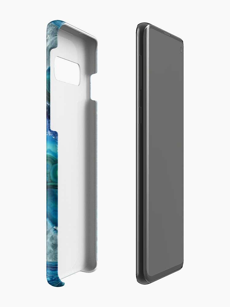 Alternate view of Teal Aqua Turquoise Blue Rock Agate Mineral Crystals Pattern Case & Skin for Samsung Galaxy