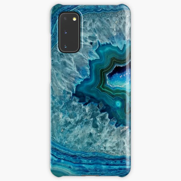 Teal Aqua Turquoise Blue Rock Agate Mineral Crystals Pattern Samsung Galaxy Snap Case