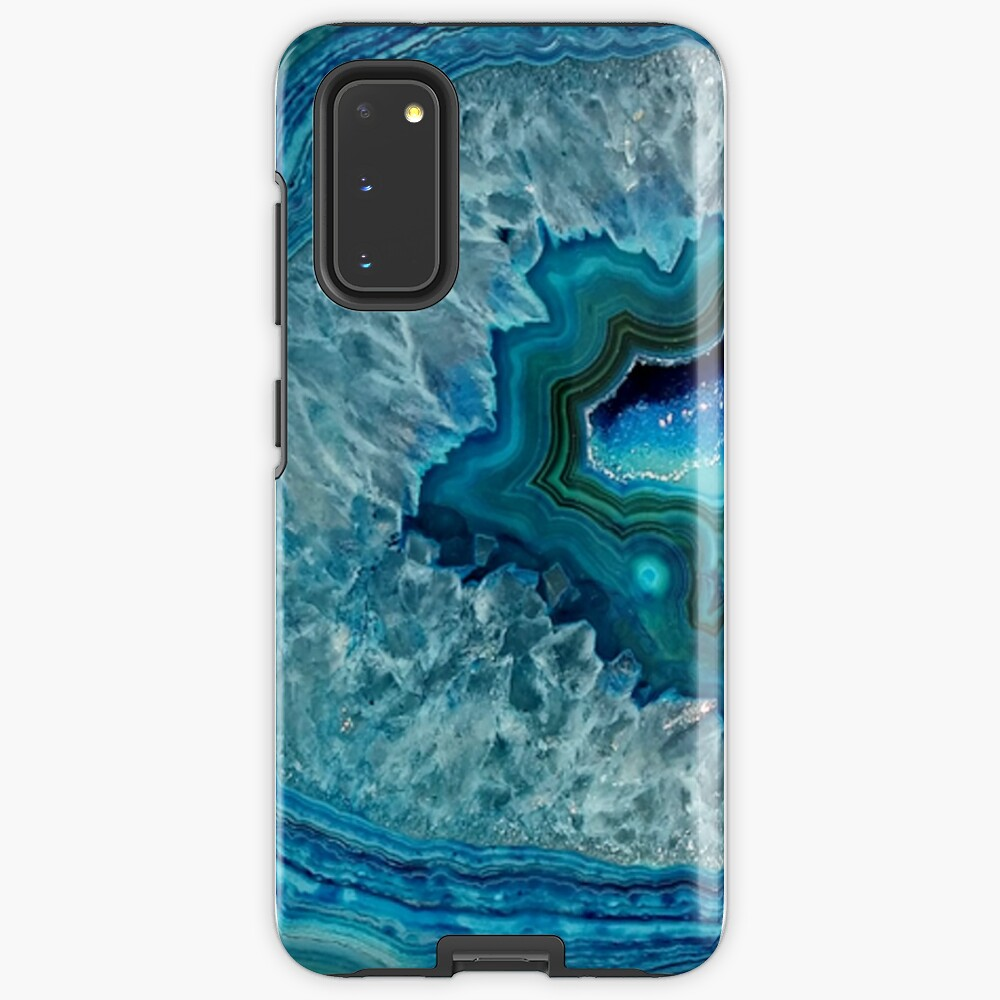 Teal Aqua Turquoise Blue Rock Agate Mineral Crystals Pattern Case & Skin for Samsung Galaxy