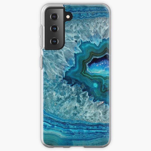 Teal Aqua Turquoise Blue Rock Agate Mineral Crystals Pattern Samsung Galaxy Soft Case