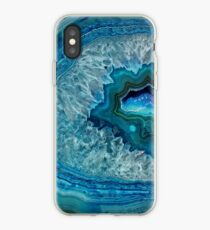 Pretty Teal Aqua Turquoise Geode Crystals Pattern iPhone Case
