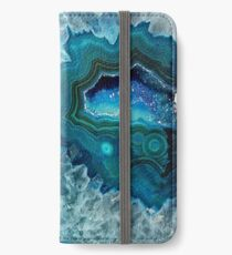 Pretty Teal Aqua Turquoise Geode Crystals Pattern iPhone Wallet/Case/Skin