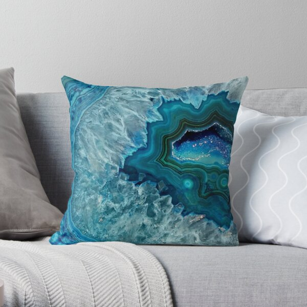 Teal Aqua Turquoise Blue Rock Agate Mineral Crystals Pattern Throw Pillow