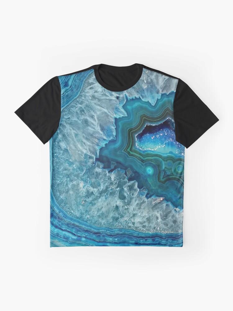Vista alternativa de Camiseta gráfica Pretty Teal Aqua Turquesa Geode Cristales Patrón