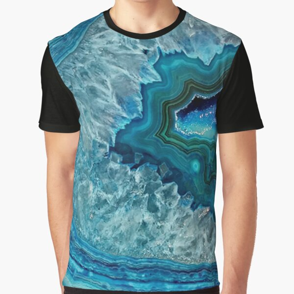 Teal Aqua Turquoise Blue Rock Agate Mineral Crystals Pattern Graphic T-Shirt