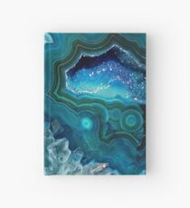 Pretty Teal Aqua Turquoise Geode Crystals Pattern Hardcover Journal