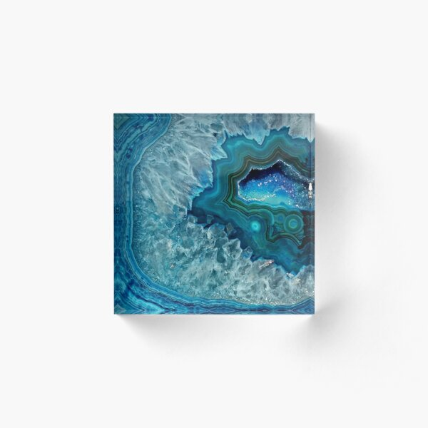 Teal Aqua Turquoise Blue Rock Agate Mineral Crystals Pattern Acrylic Block