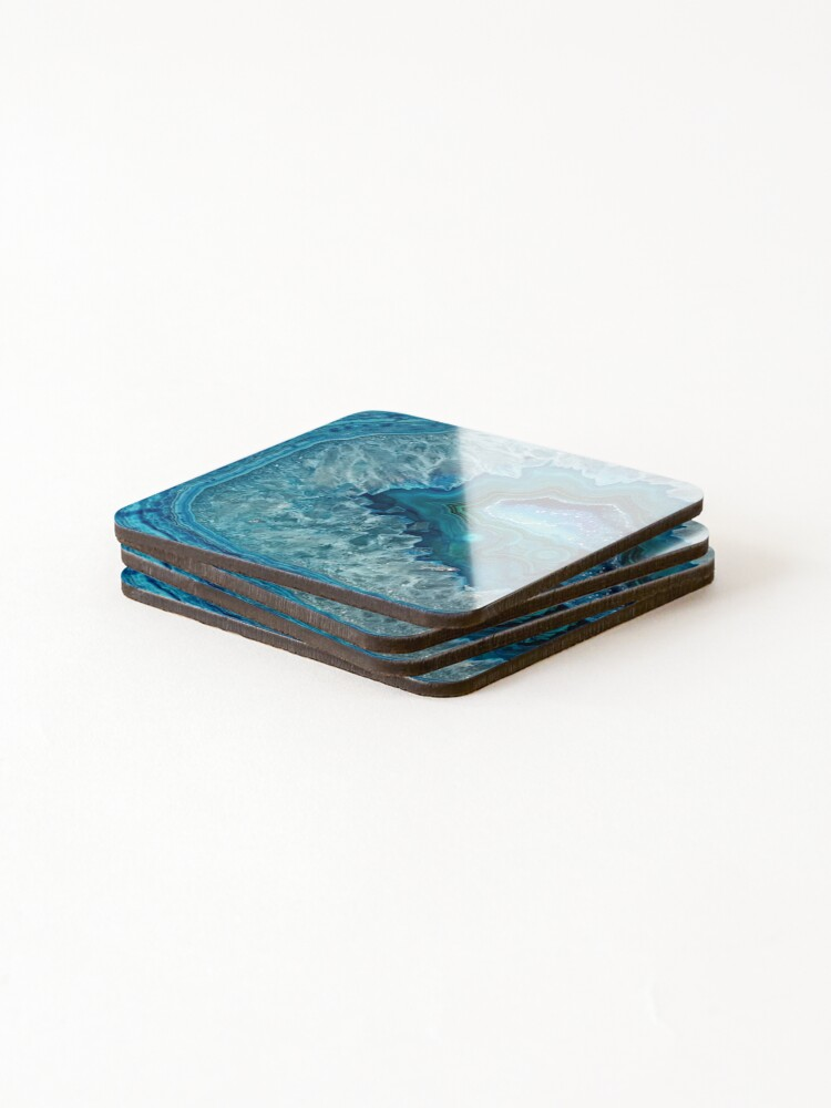Alternate view of Teal Aqua Turquoise Blue Rock Agate Mineral Crystals Pattern Coasters (Set of 4)