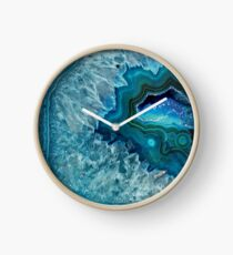 Pretty Teal Aqua Turquoise Geode Crystals Pattern Clock