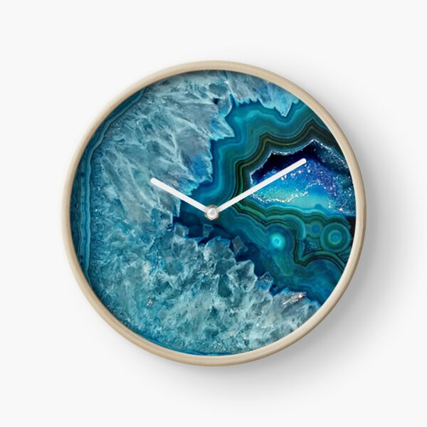 Teal Aqua Turquoise Blue Rock Agate Mineral Crystals Pattern Clock