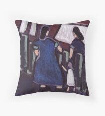 Gossip over the fence Throw Pillow