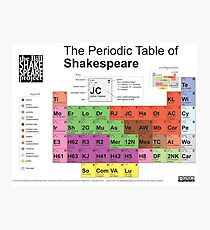Periodic Table of Shakespeare [old version] Photographic Print