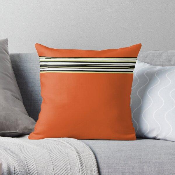 Orange Black Stripes White Yellow Eggshell (Patrón 2018 04 01) Cojín