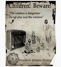 Steampunk Advisory Warning Poster